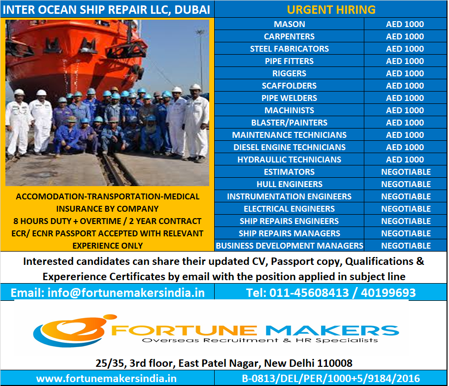 HIRING FOR UAE- INTER OCEAN SHIP REPAIR LLC